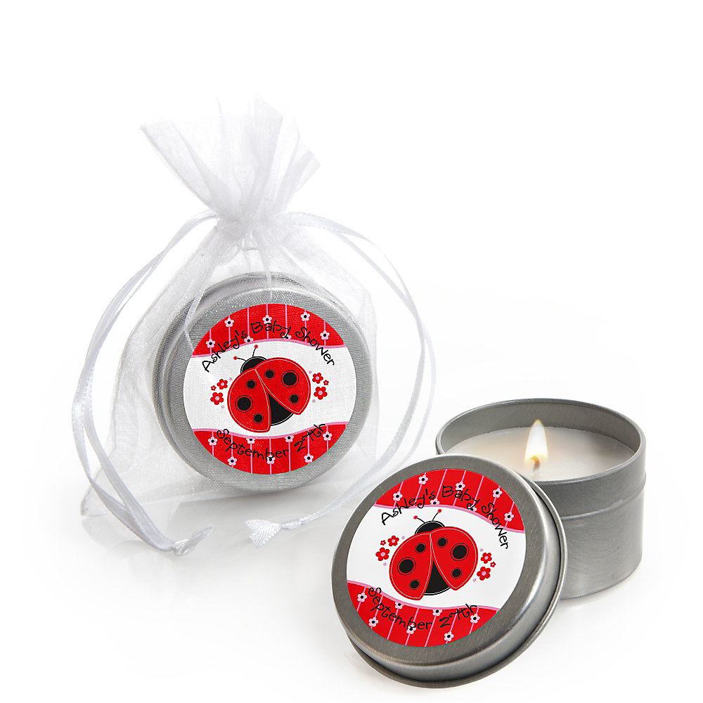 modern ladybug baby shower candle tin favors