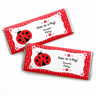 modern ladybug personalized baby shower candy bar wrapper favors