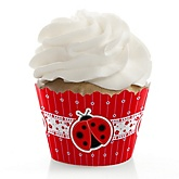 Modern Ladybug - Baby Shower Cupcake Wrappers