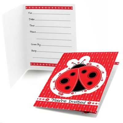 modern ladybug baby shower fill in invitations 8 ct