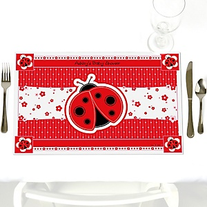 Modern Ladybug - Personalized Baby Shower Placemats