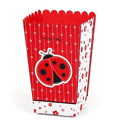 Modern Ladybug - Personalized Party Popcorn Favor Treat Boxe...