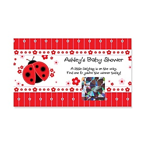 Modern Ladybug - Personalized Baby Shower Scratch-Off Game – 22 Count