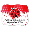 Modern Ladybug - Personalized Baby Shower Squiggle Stickers - 16 ct