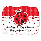 Modern Ladybug - Personalized Baby Shower Squiggle Sticker Labels - 16 Count