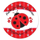 Modern Ladybug - Personalized Baby Shower Round Sticker Labels - 24 Count