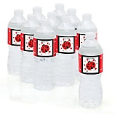 Modern Ladybug - Baby Shower Personalized Water Bottle Sticker Labels - 10 Count