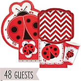 Modern Ladybug - Baby Shower Tableware Bundle for 48 Guests