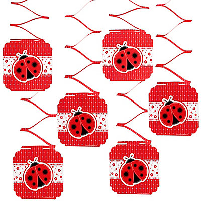 modern ladybug baby shower hanging decorations 6 ct