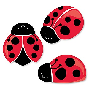 Modern Ladybug  - Shaped Baby Shower Paper Cut-Outs - 24 ct