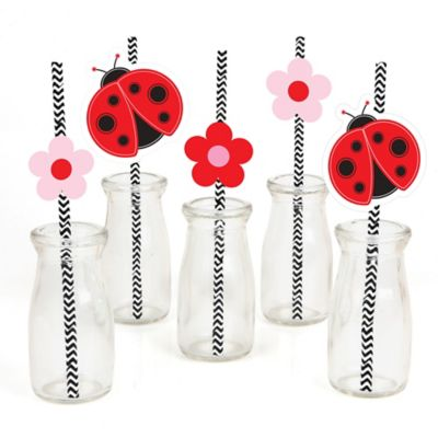 modern ladybug paper straw decor baby shower or birthday party striped decorative straws