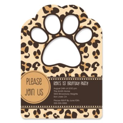 Leopard Paw Shaped Personalized Dog Party Invitations