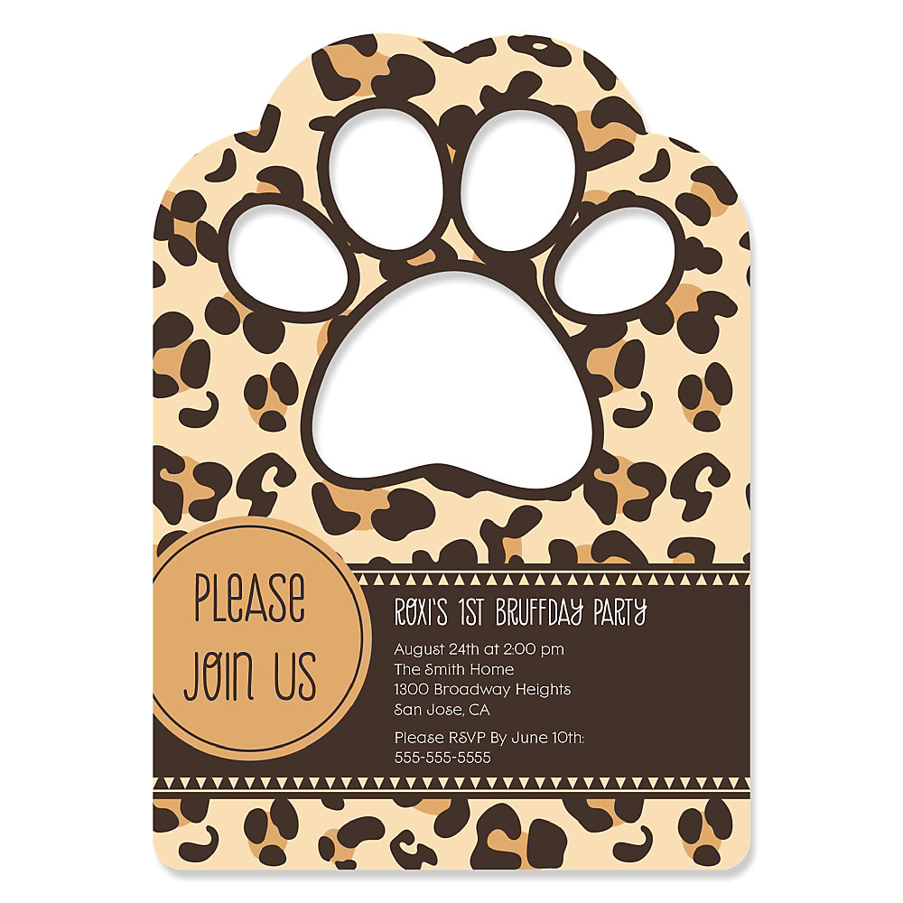 Leopard Paw Shaped Personalized Dog Party Invitations – Dog Party Invitation