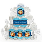 Lion Boy - 3 Tier Personalized Square Baby Shower Diaper Cake