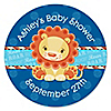 Lion Boy - Personalized Baby Shower Sticker Labels - 24 ct