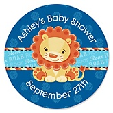 Lion Boy - Personalized Baby Shower Round Sticker Labels - 24 Count