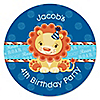 Lion Boy - Personalized Birthday Party Sticker Labels - 24 ct
