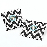 Dashing Little Man Mustache Party - Chevron Favor Bags with Personalized Round Party Sticker Labels - 24 Count