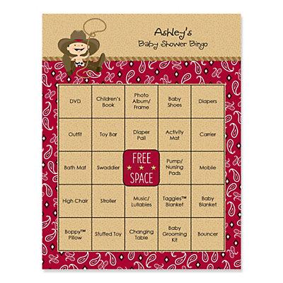 little cowboy western baby shower game bingo cards 16 ct