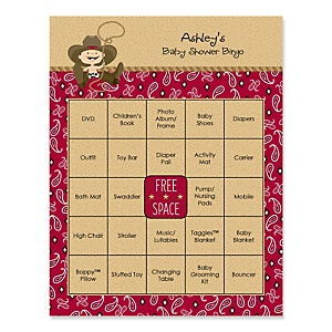 Little Cowboy - Western Bingo Personalized Baby Shower Games - 16 Count