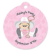 Little Cowgirl - Western Round Personalized Party Tags - 20 ct
