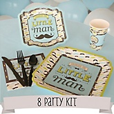 Dashing Little Man Mustache Party - 8 Person Baby Shower Kit