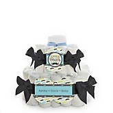 Dashing Little Man Mustache Party - 2 Tier Personalized Square Baby Shower Diaper Cake