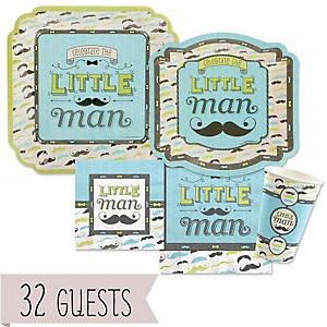 Dashing Little Man Mustache Party - Baby Shower Tableware Bundle for 32 Guests