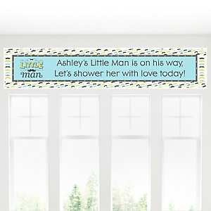 Dashing Little Man Mustache Party - Personalized Baby Shower Banners