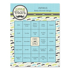 Dashing Little Man Mustache Party - Bingo Personalized Baby Shower Games - 16 Count
