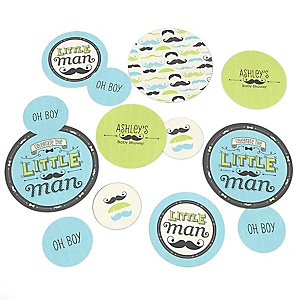 Dashing Little Man Mustache Party - Personalized Baby Shower Table Confetti - 27 Count