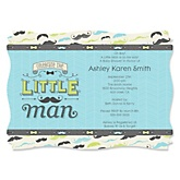 Dashing Little Man Mustache Party - Personalized Baby Shower Invitations