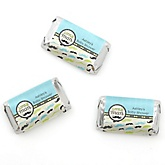 Dashing Little Man Mustache Party - Personalized Baby Shower Mini Candy Bar Wrapper Favors - 20 Count