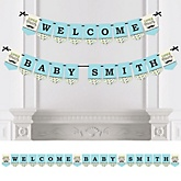 Dashing Little Man Mustache Party - Personalized Baby Shower Bunting Banner