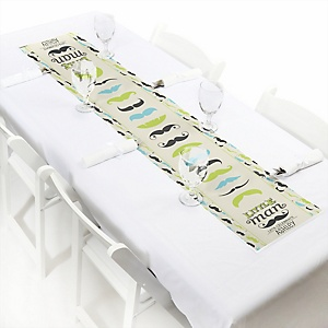 Dashing Little Man Mustache Party - Personalized Baby Shower Petite Table Runners