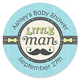 Dashing Little Man Mustache Party - Personalized Baby Shower Round Sticker Labels - 24 Count