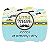 Dashing Little Man Mustache Party - Personalized Birthday Party Squiggle Stickers - 16 ct