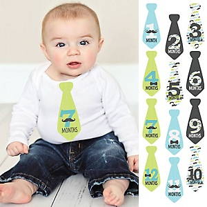 Dashing Little Man Mustache Party - Baby Monthly Tie Sticker Set - 12 Necktie Pieces