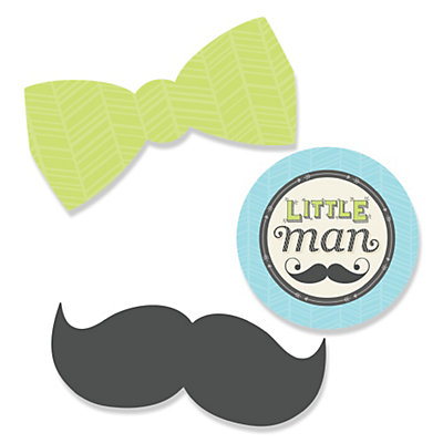 Dashing Little Man Mustache Party   Shaped Party Paper Cut Outs   24 Ct