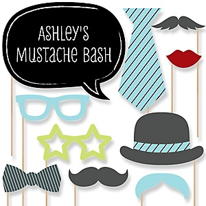 Dashing Little Man Mustache Party - Baby Shower Photo Booth Props Kit - 20 Props