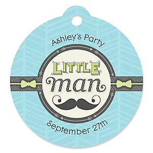 Dashing Little Man Mustache Party - Personalized Baby Shower Round Tags - 20 Count