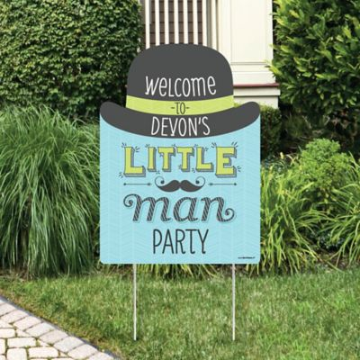 Dashing Little Man Mustache Party   Party Decorations   Birthday Party Or Baby  Shower Personalized Welcome Yard Sign