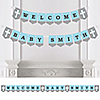 Little Miracle Boy Blue & Gray Cross - Personalized Party Bunting Banner