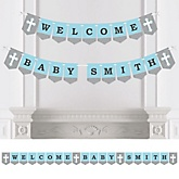 Little Miracle Boy Blue & Gray Cross - Personalized Baby Shower Bunting Banner