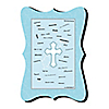 Little Miracle Boy Blue & Gray Cross - Personalized Baby Shower Signature Mat Gift