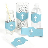 Little Miracle Boy Blue & Gray Cross - Do It Yourself Baby Shower Wrappers - 15 Count
