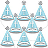 Little Miracle Boy Blue & Gray Cross - Personalized Mini Cone Baptism or Baby Shower Party Hats - Small Little Party Hats - Set of 10