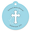 Little Miracle Boy Blue & Gray Cross - Round Personalized Party Tags - 20 ct
