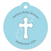 Little Miracle Boy Blue & Gray Cross - Personalized Baby Shower Round Tags - 20 Count