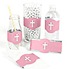 Little Miracle Girl Pink & Gray Cross - DIY Party Wrappers - 15 ct